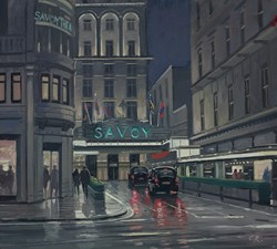 The Savoy, London by Charles Rowbotham - Original Painting on Board sized 13x12 inches. Available from Whitewall Galleries
